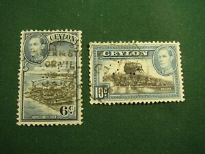 2 x Ceylon Postage Stamps with Perfins