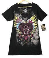 """Archaic Affliction Women's Sz XL """"Darling"""" T-Shirt Heart Wings Tattoo Biker UFC"""