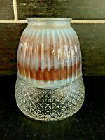 Vtg Ribbed Glass Diamond Starburst Light Lamp Shade Globe Brown Blue Color MCM