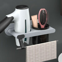 Hair Dryer Holder Wall Mount Stand Towel Bathroom Rack Shelf Storage Organizer