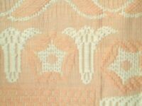 Vintage  Bedspread pale pink/white Reversible woven/fringe 2 sides Made in Italy
