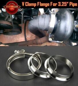 """T304 Stainless Steel V Band Clamp Flange Set For Ford 3.25"""" O.D Exhaust Pipe"""