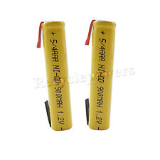 2 x 5/4 AAA 3A 900mAh NiCD Rechargeable Battery Flat Top with Tab Yellow