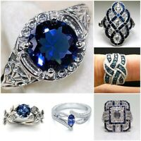 Trendy 925 Silver White Topaz Blue Gemstone Band Ring Women Jewelry Wedding