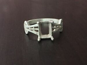 925 Sterling Silver Semi Mount Ring Setting Stone 6 x 8 mm Octagon Engagement