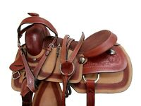 CUTTING WESTERN SADDLE ROPING PLEASURE HORSE FLORAL TOOLED LEATHER TACK 15 16 17