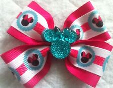 """Girls Hair Bow 4"""" Wide White Hot Pink Teal Minnie Flatback French Barrette"""
