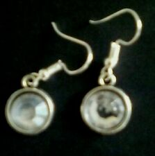 "Clear crystal Earrings on Silver plate fish hook wire ""549"" cc"