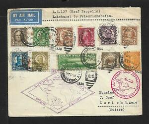 ZEPPELIN USA TO SWITZERLAND MULTICOLORED AIRMAIL COVER 1930