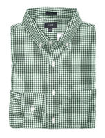 J.Crew Factory - Men's S - Slim Fit - Green Micro-Gingham Washed Cotton Shirt