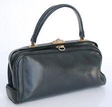 Vintage Frame Bag - Navy blue leather - 1950s - Pajan Milano Small