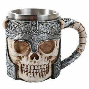 Warrior Helmet Skull Beer Stein Tankard Skulls Gothic Decor Gift 13oz