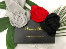 Black, Red & Gray Flower Clip Scarf woman belt headband neck hair set of 3