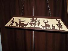 X LARGE Laser cut Steel Elk & Mule Deer Pool Table Light Lamp hunt cabin copper