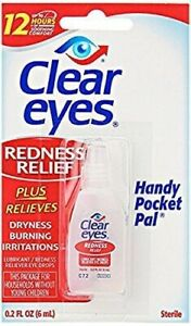 CLEAR EYES REDNESS RELIEF EYE DROPS BURNING DRYNESS - 6ml - EXP 09/22