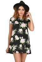 Womens Floral Doogtooth Print Short Sleeve Bodycon Ladies Flared Swing Dress
