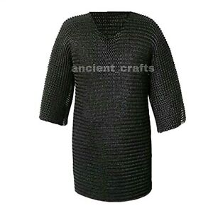 Medieval Chainmail Shirt Armour Hauberk Blackened 9mm Riveted Ring>Size 48x36x14