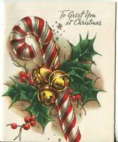 VINTAGE CHRISTMAS RED WHITE CANDY CANE HOLLY BELLS SILVER MCM ART GREETING CARD