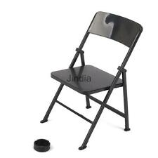 """1/6 Scale Mini Folding Chair with Ashtray for 12"""" Dolls Action Figures Black"""