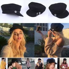 Ladies Womens Girls Wool Blend Baker Boy Peaked Cap Newsboy Hat  2018 Black