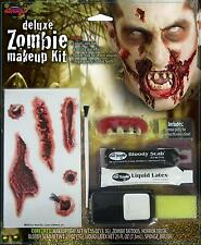 ZOMBIE DELUXE MAKEUP KIT FACE PAINT TEETH LATEX BLOODY SCAB COSTUME FW9488