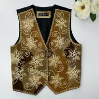AJ Designs XL Suede Embroidered Patchwork Vest Western Cowgirl Button Down