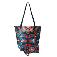 Asian Ethnic Collection Navy with Dew Pattern Faux Leather Tote Bag with Clutch