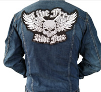 LIVE FREE RIDE FREE Iron On Patch Embroidery Applique Sewing Label Punk Biker