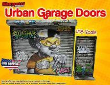 Urban Garage Doors with Graffiti 1/18 Scale Diorama (Handmade Accessory)