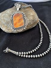 Native American Sterling Silver Navajo Pearls Orange Spiny Oyster Pendant 774