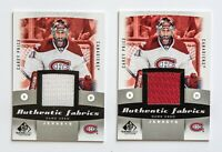 CAREY PRICE SP GAME USED JERSEY CARD LOT OF 2 UD AUTHENTIC FABRICS CANADIENS WOW