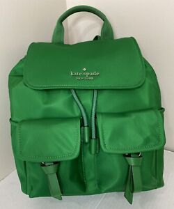 New Kate Spade New York Carley Flap Backpack Nylon with Leather Green Bean