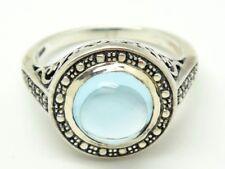 RING  Blau Topas & Weiß Topas   925 Sterling Silber  Ø 18,1 mm