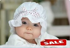 Baby Shower Infant White Christening Baptism Bonnet wedding hat Beanies Cap Gift