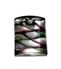 PENDANT/NECKLACE Lampwork Glass & Silver Foil RED & GREEN DANGLE