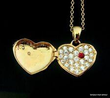SALE--Vintage goldfarbene Halskette mit Strass Herz Medaillon, Necklace, Collana