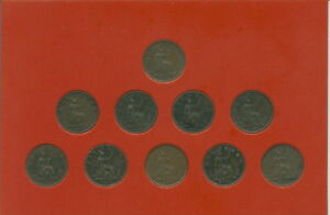 1860-1893 Queen Victoria Young Bun Head Farthings Farthing Coin Type Gift Set