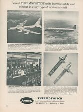 1954 Fenwal Thermoswitch Ad with US Airforce B52 Stratofortress & Douglas DC-7