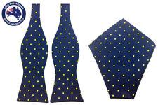 Mens Blue Yellow Polka Dots Self Tied Bowtie Pocket Square Combo Wedding Bowties