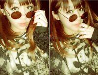Unisex Women Men Mirror lens Round Glasses Steampunk Sunglasses Retro Hot 2017 C