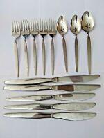 Oneida Community Satinique Flatware Lot 13 pcs Skinny Handle Forks Spoons Knife