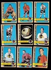 1972 - 73 Topps Hockey Team SET lot of 9 Chicago BLACK HAWKS NM ESPOSITO MIKITA