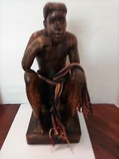 Vintage Pacific Island Hand Carved Wood Statue Man Sitting Anatomically Correct