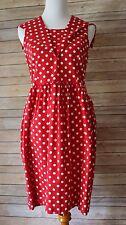 Laura Ashley Red Polka Dot Sundress Dress Pinup Sleeveless Rockabilly 10 M