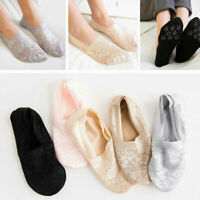 1/3 Pairs Womens Invisible Low Cut Non Slip Cotton Lace Socks Antiskid No Show