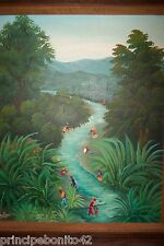RIVER VIEW--HAITI--REKNOWNED PAINTER-1970'S--EXPLOSION OF COLORS AND DETAILS