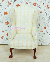 1/12 Scale Dollhouse Miniature Wing Chair Armchair Made Of Wood And Cloth JL0281