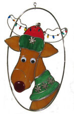 Stain Glass Christmas Reindeer on Wire Oval Ring
