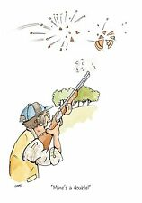 Mine's a double ! clay pigeon shotgun target shooting Greeting Card & envelope