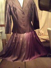 Impresionante nuevo KAY UNGER-Chaqueta y falda traje de boda-Seda-Uk12, 8 de EE. UU.